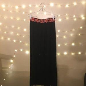 Black Maxi Skirt with Geometric Design Waistband
